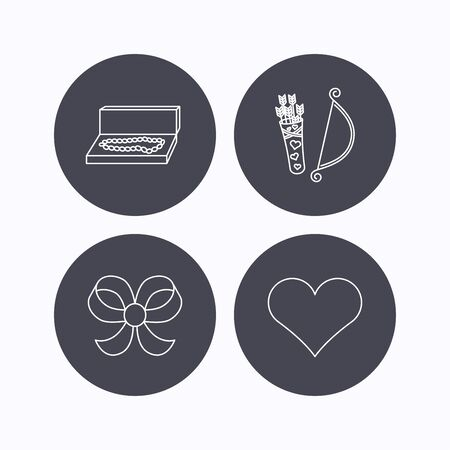 bowknot: Love heart, jewelry and bow-knot icons. Valentine amour arrows linear sign. Flat icons in circle buttons on white background. Vector