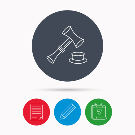 sentencing: Auction hammer icon. Justice and law sign. Calendar, pencil or edit and document file signs. Vector