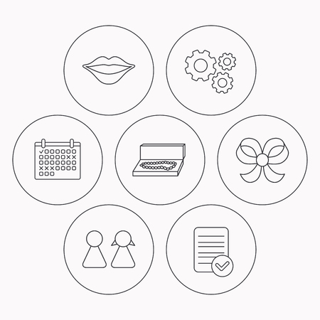 file box: Lips, box with jewelry and couple icons. Bow-knot linear sign. Check file, calendar and cogwheel icons. Vector Illustration