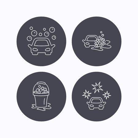 operated: Car wash icons. Automatic cleaning station linear signs. Wet cleaning and foam bucket flat line icons. Flat icons in circle buttons on white background. Vector