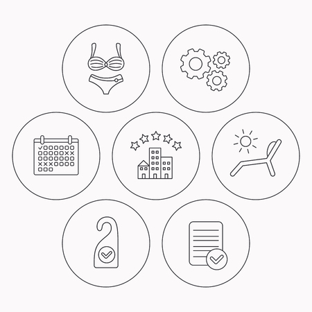 5 door: Hotel, lingerie and beach deck chair icons. Clean room linear sign. Check file, calendar and cogwheel icons. Vector Illustration