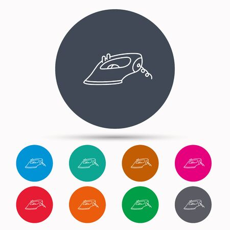 housework: Iron icon. Ironing housework sign. Laundry service symbol. Icons in colour circle buttons. Vector