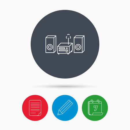 cd recorder: Music center icon. Stereo system sign. Calendar, pencil or edit and document file signs. Vector