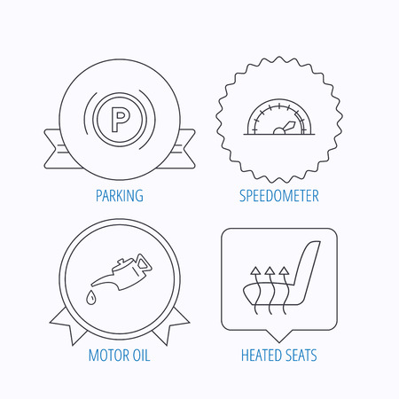 heated: Motor oil, parking and speedometer icons. Heated seats linear sign. Award medal, star label and speech bubble designs. Vector