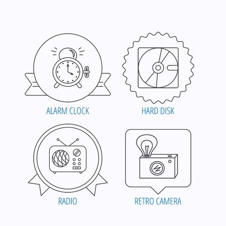 clock radio: Radio, retro camera and alarm clock icons. Hard disk linear sign. Award medal, star label and speech bubble designs. Vector Illustration