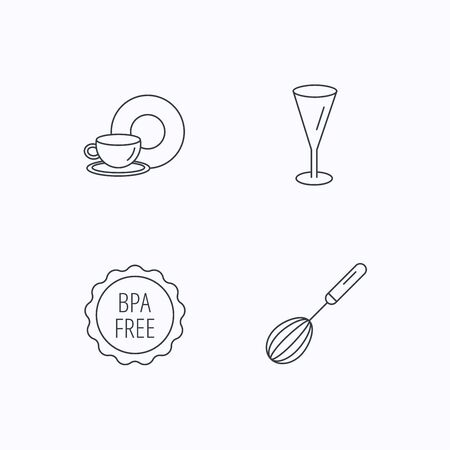 bpa: Food and drink, glass and whisk icons. BPA free linear sign. Flat linear icons on white background. Vector