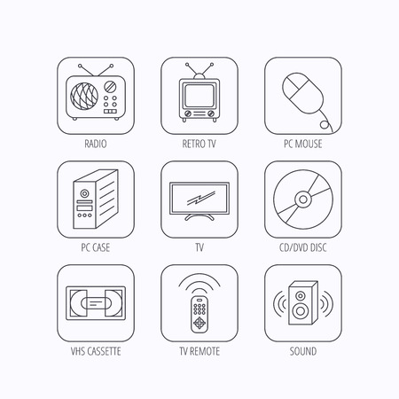 dvd case: Retro TV, radio and DVD disc icons. PC mouse, VHS cassette and sound speaker linear signs. Flat linear icons in squares on white background. Vector Illustration