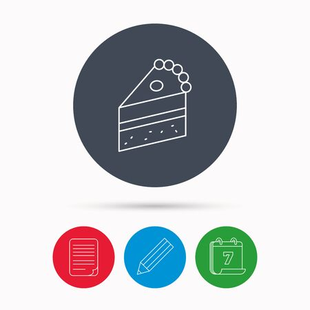 porcion de pastel: Piece of cake icon. Sweet dessert sign. Pastry food symbol. Calendar, pencil or edit and document file signs. Vector