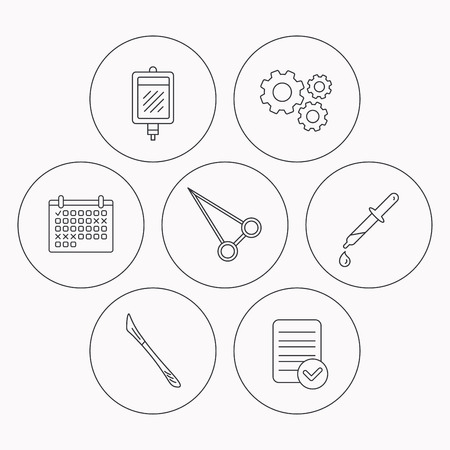 forceps: Pipette, blood donation and scalpel icons. Peans forceps linear sign. Check file, calendar and cogwheel icons. Vector Illustration