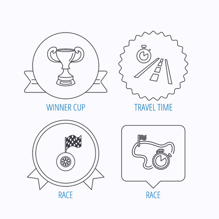 race winner: Winner cup, race timer and flag icons. Travel time linear sign. Award medal, star label and speech bubble designs. Vector