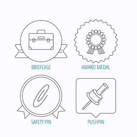 star award: Award medal, pushpin and briefcase icons. Safety pin linear sign. Award medal, star label and speech bubble designs. Vector Illustration