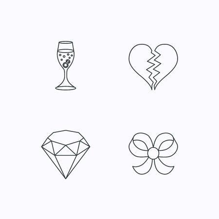 brilliant: Broken heart, brilliant and engagement ring icons. Bow-knot linear sign. Flat linear icons on white background. Vector