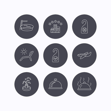 5 door: Hotel, swimming pool and beach deck chair icons. Reception bell, restaurant food and airplane linear signs. Do not disturb and clean room flat line icons. Flat icons in circle buttons on white background. Vector