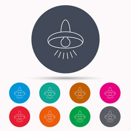lighting button: Ceiling lamp icon. Light illumination sign. Icons in colour circle buttons. Vector