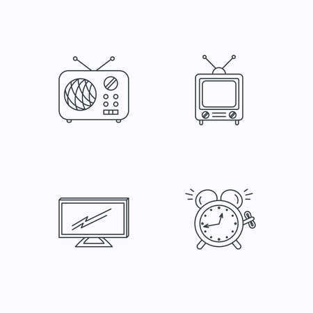 tv retro: TV, retro radio and alarm clock icons. Widescreen TV linear sign. Flat linear icons on white background. Vector