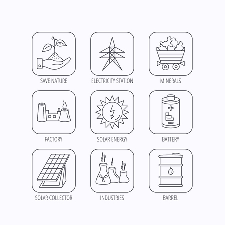 solar collector: Solar collector energy, battery and oil barrel icons. Minerals, electricity station and factory linear signs. Industries, save nature icons. Flat linear icons in squares on white background. Vector Illustration