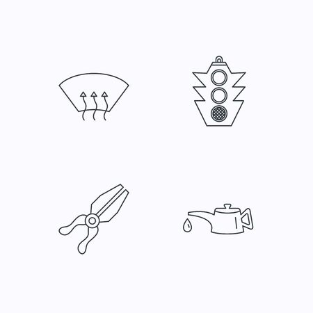 heated: Motor oil change, traffic lights and pliers icons. Heated window linear sign. Flat linear icons on white background. Vector