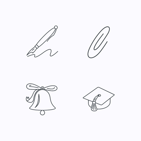 bachelor's: Graduation cap, pen and bell icons. Safety pin linear signs. Flat linear icons on white background. Vector Illustration