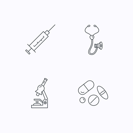 histology: Syringe, stethoscope and microscope icons. Medical pills linear sign. Flat linear icons on white background. Vector Illustration
