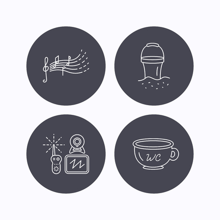 beach bucket: Baby wc, video monitoring and songs for kids icons. Beach bucket linear sign. Flat icons in circle buttons on white background. Vector