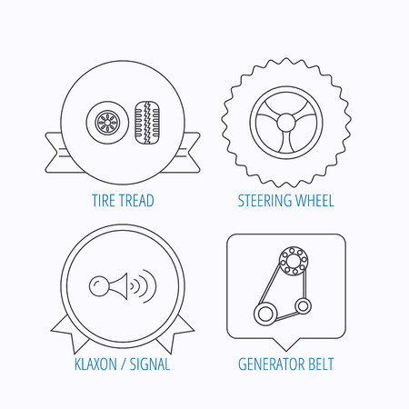 klaxon signal tire tread and steering wheel icons generator
