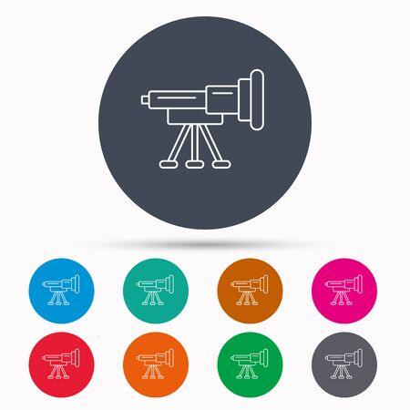 spyglass: Telescope icon. Spyglass sign. Astronomy magnify lens symbol. Icons in colour circle buttons. Vector Illustration