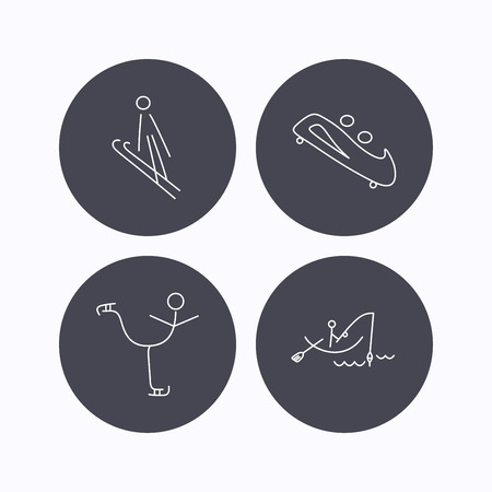bobsled: Fishing, figure skating and bobsled icons. Ski jumping linear sign. Flat icons in circle buttons on white background. Vector