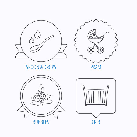 Pram Carriage Spoon And Drops Icons Bubbles Crib Bed Linear