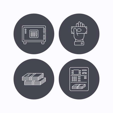 give money: Give money, cash money and ATM icons. Safe box linear sign. Flat icons in circle buttons on white background. Vector Illustration
