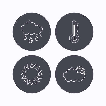 day forecast: Thermometer, sun and rain icons. Clouds linear sign. Flat icons in circle buttons on white background. Vector