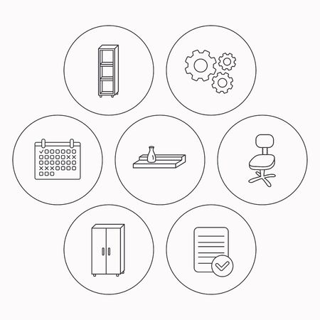 interior shelving: Office chair, cupboard and shelving icons. Wall shelf linear sign. Check file, calendar and cogwheel icons. Vector
