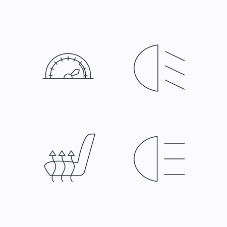 heated: Speedometer, passing fog lights and heated seat icons. High beams linear sign. Flat linear icons on white background. Vector Illustration