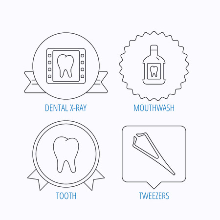 tweezers: Mouthwash, tooth and dental x-ray icons. Tweezers linear sign. Award medal, star label and speech bubble designs. Vector
