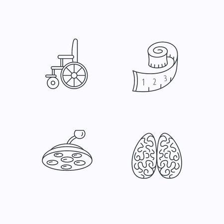 neurosurgery: Wheelchair, neurology and weight loss icons. Surgical lamp linear sign. Flat linear icons on white background. Vector Illustration