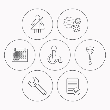 oil change: Seat belt, oil change and wrench tool icons. Disabled person linear sign. Check file, calendar and cogwheel icons. Vector