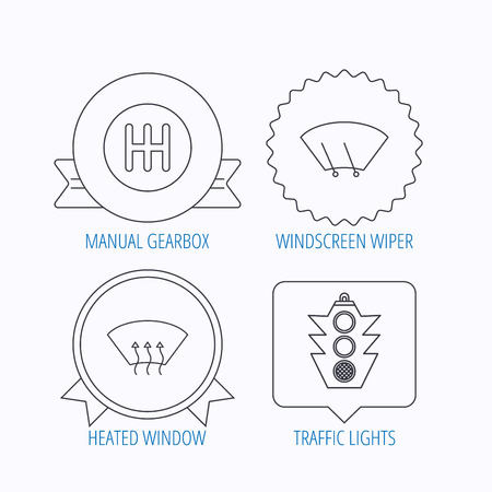 washing windows: Traffic lights, manual gearbox and wiper icons. Heated window, manual transmission linear signs. Washing window icon. Award medal, star label and speech bubble designs. Vector Illustration