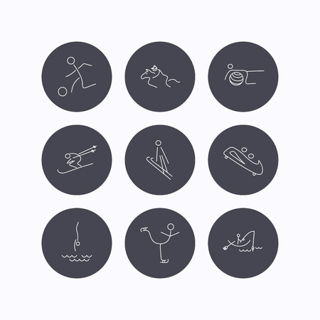 horseback: Pilates, football and skiing icons. Fishing, diving and figure skating linear signs. Ski jumping, horseback riding and bobsled icons. Flat icons in circle buttons on white background. Vector