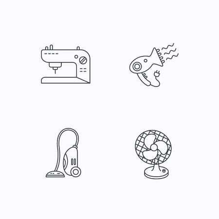 ventilator: Ventilator, sewing machine and hairdryer icons. Ventilator linear sign. Flat linear icons on white background. Vector