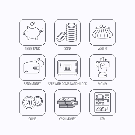 give money: Piggy bank, cash money and wallet icons. Safe box, send money and dollar usd linear signs. Give money, coins and ATM icons. Flat linear icons in squares on white background. Vector Illustration