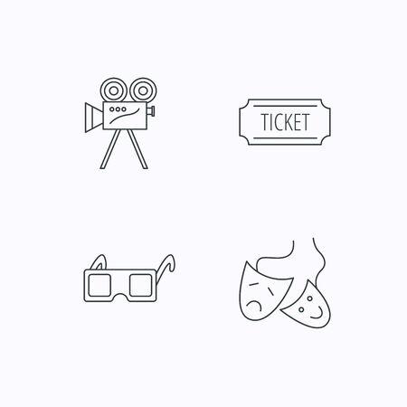 mascaras de teatro: Venta de entradas, la cámara de vídeo y máscaras de teatro iconos. 3d vasos signo lineal. iconos lineales planos sobre fondo blanco. Vector Vectores