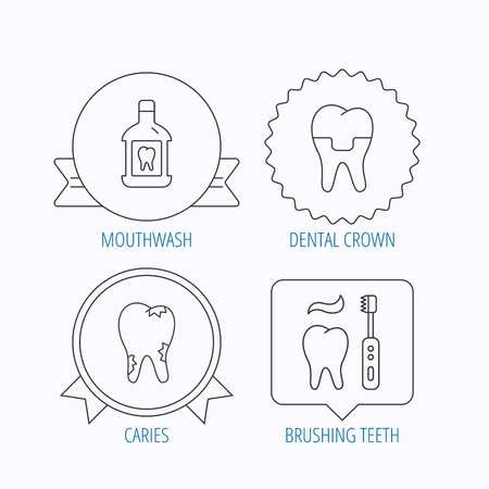 paradontosis: Caries, dental crown and mouthwash icons. Brushing teeth linear sign. Award medal, star label and speech bubble designs. Vector Illustration