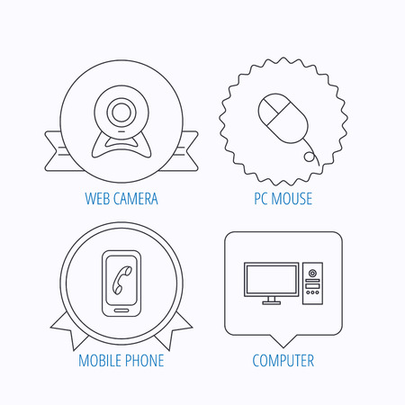 pc case: Computer, web camera and mobile phone icons. PC case linear sign. Award medal, star label and speech bubble designs. Vector