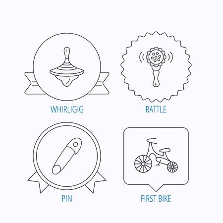 molinete: La primera bicicleta, zapateros y los iconos de juguete sonajero. Pin se�al lineal. Medalla de la concesi�n, la etiqueta estrella y dise�os de bocadillo. Vector