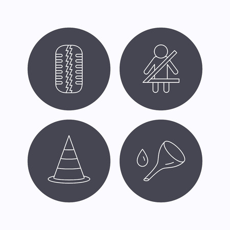 oil change: Tire tread, traffic cone and oil change icons. Fasten seat belt linear sign. Flat icons in circle buttons on white background. Vector Illustration