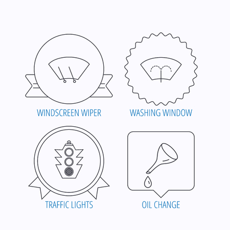 wiper: Motor oil change, traffic lights and wiper icons. Washing window, windscreen wiper linear signs. Award medal, star label and speech bubble designs. Vector