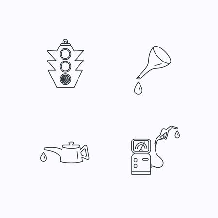 motor oil: Motor oil change, traffic lights and gas station icons. Petrol station linear sign. Flat linear icons on white background. Vector