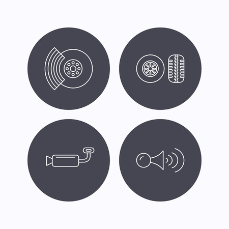 muffler: Tire tread, brakes and steering wheel icons. Muffler, klaxon signal linear signs. Flat icons in circle buttons on white background. Vector