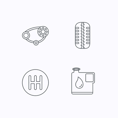 timing: Wheel, manual gearbox and timing belt icons. Fuel jerrycan, manual transmission linear signs. Flat linear icons on white background. Vector