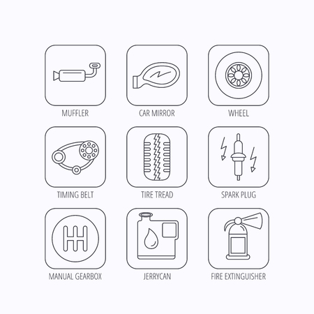 timing belt: Wheel, car mirror and timing belt icons. Fire extinguisher, jerrycan and manual gearbox linear signs. Muffler, spark plug icons. Flat linear icons in squares on white background. Vector