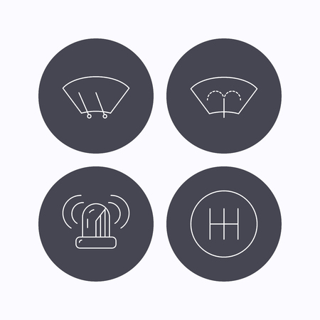 wiper: Manual gearbox, siren alarm and washing window icons. Windscreen wiper linear sign. Flat icons in circle buttons on white background. Vector